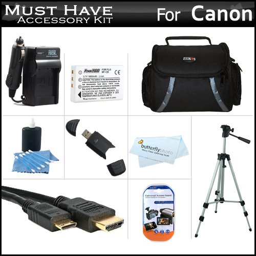 ''Must Have'' Accessory Kit For Toshiba Camileo X100 H30 HD Camcorder Includes Extended (1850Mah) Replacement PX1657 Battery + Ac/Dc Travel Charger + 50'' Tripod + Deluxe Case + Mini HDMI Cable + Screen Protectors + More by ButterflyPhoto