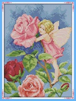 Joy Sunday Cross Stitch kits, Flower pretty woman ,11CT Stam