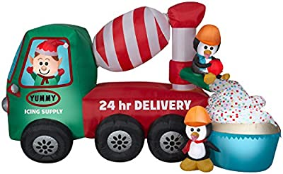Gemmy 5' Animated Airblown Cement Mixer Scene Christmas Inflatable