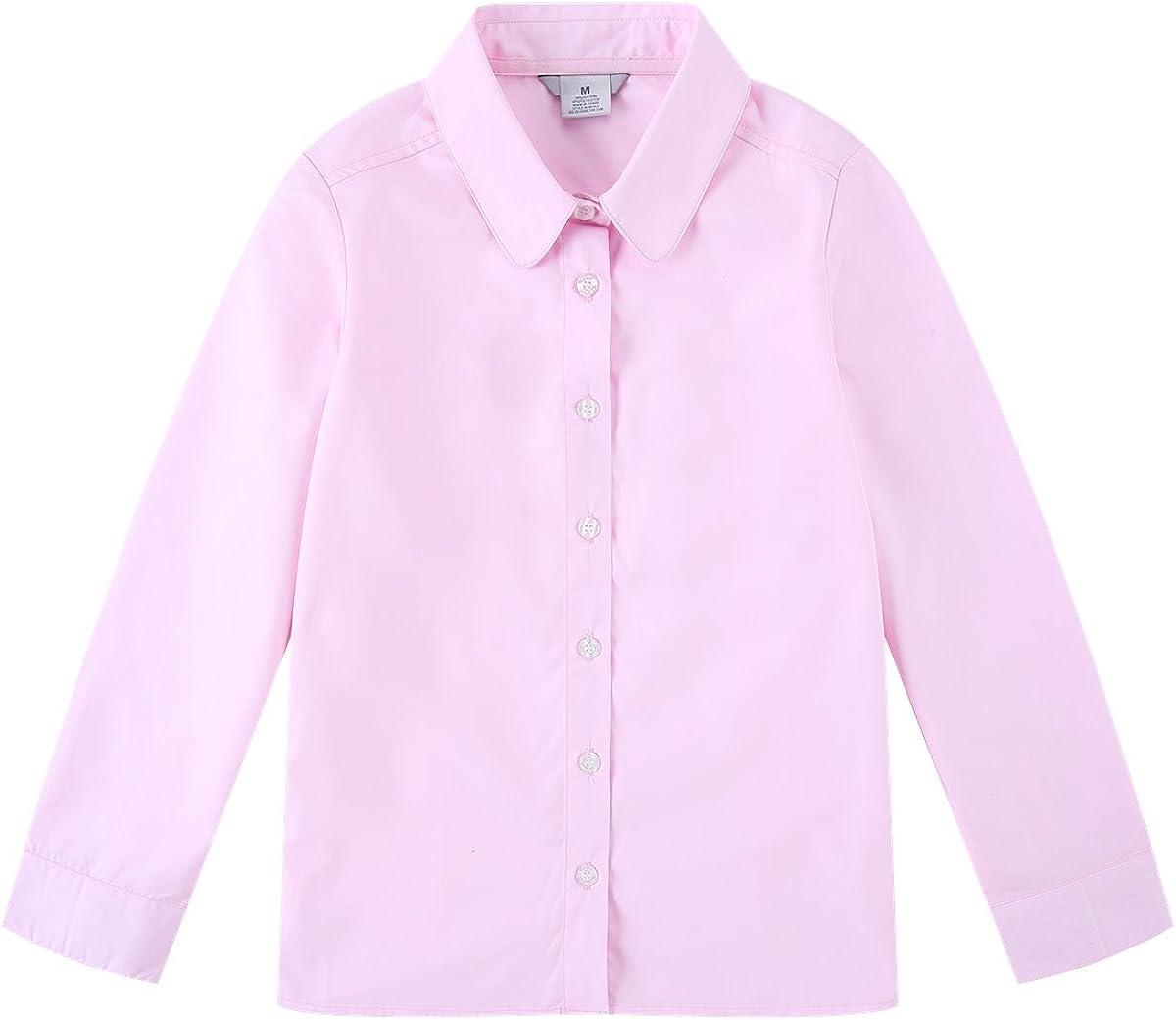 Bienzoe Big Girl's School Uniforms Oxford Long Sleeve Blouse: Clothing