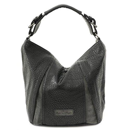 FRITZI AUS PREUSSEN, Damen Handtaschen, Schultertaschen, Hobo-Bags, Beuteltaschen, Schwarz, 39 x 36 x 19 cm (B x H x T)