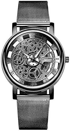 Honeycomb Soltero SOXY Personalidad de la Moda de Negocios Reloj Esqueleto Hombres Grabado Hueco Reloj de Pulsera de Cuarzo Reloj de Banda de Acero Inoxidable precisión (Color: : Negro)