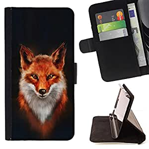 DEVIL CASE - FOR Sony Xperia Z1 L39 - Fox White Orange Red Art Portrait Painting - Style PU Leather Case Wallet Flip Stand Flap Closure Cover