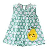 Diufon Toddler Girl Summer Polka Dot Stripe Mini Vest Dress Embroidered Floral Pattern Dress (0-24 Months, Blue)