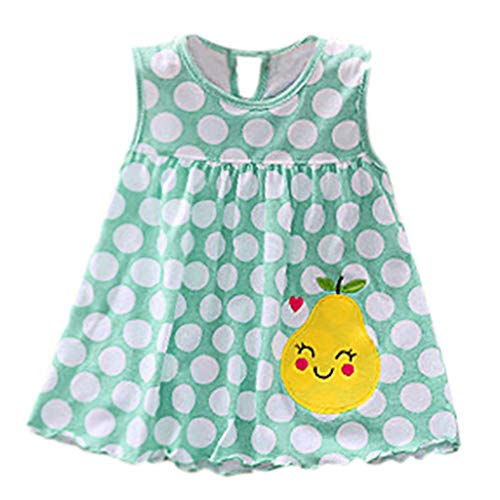 Diufon Toddler Girl Summer Polka Dot Stripe Mini Vest Dress Embroidered Floral Pattern Dress (0-24 Months, Blue) by Diufon (Image #3)