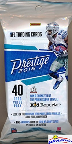 2016 Panini Prestige NFL Football Awesome EXCLUSIVE Factory Sealed JUMBO FAT PACK with 40 Cards! Look for Rookies & Autographs of Carson Wentz,Jared Goff,Ezekiel Elliott & All the Top NFL Draft Picks