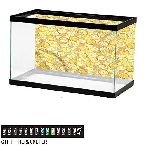 - Suchashome Fish Tank Backdrop Yellow and Brown,Citrus Fruit Lemon,Aquarium Background,48