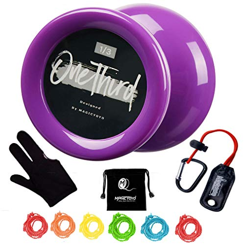 MAGICYOYO Looping Yoyo Responsive Yoyo D2 ONE Third Ball Bearing Yoyo Axle, Premium Plastic Yoyo, Super Durable Kids Yoyo+ 6 Strings + Yoyo Glove + Yoyo Holder + Yoyo Bag - Purple