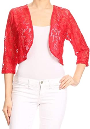 76f584025602 Holiday Women's Plus Size Dressy Shrug Lace 3/4 Sleeve Open Front Cardigan  Bolero at Amazon Women's Clothing store: