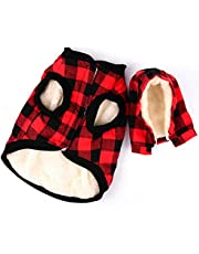 Rantow Windproof Pet Dog Jacket Winter Coat Detachable Hat Cold Weather Dog Vest Red Plaid/Blue Plaid Puppy Hoodie Sweater Clothing Outfits (M, Red Plaid)