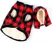 Rantow Windproof Pet Dog Jacket Winter Coat Detachable Hat Cold Weather Dog Vest Red Plaid/Blue Plaid Puppy Ho