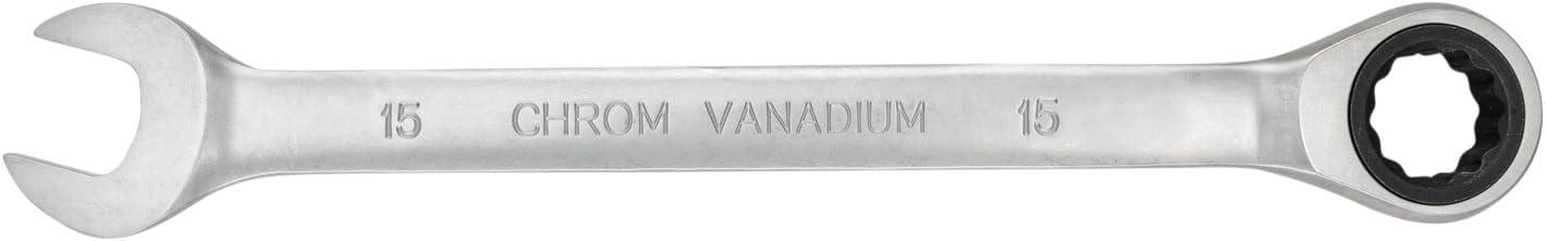 Cl/é mixte /à cliquet 9 mm par WIESEMANN 1893 80911 cl/é en acier CV chrom/é /à t/ête fourche et t/ête cliquet avec anneau darr/êt
