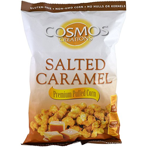 Cosmos Creations Premium Puffed Corn - Salted Caramel Popcorn Without Hulls - 6.5 Ounce Bag