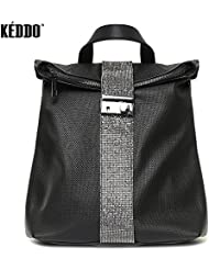 KEDDO City Style Vegan Leather Waterproof Backpack for Woman. Eco Casual Fashion Lifestyle Lightweight Rucksack