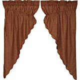 VHC Brands Classic Country Primitive Window Curtains – Check Red Scalloped Prairie Curtain Pair, Burgundy Review