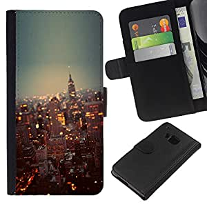 KLONGSHOP // Tirón de la caja Cartera de cuero con ranuras para tarjetas - York City Lights Rascacielos - HTC One M7 //