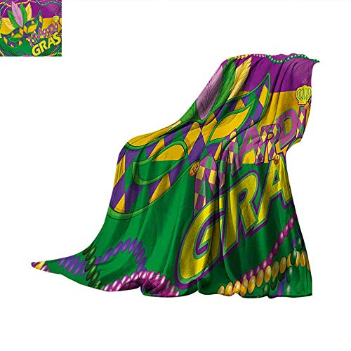 Mardi Gras Weave Pattern Blanket Colorful Bands with Vivid Beads Feathers Mask and Crown Symbol Summer Quilt Comforter 90