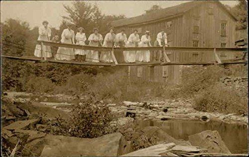 - Group of Women on Bridge Original Vintage Postcard
