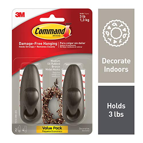 Command 3 lb Capacity Forever Classic Metal Hook, Indoor Use, 2 hooks, 4 strips (FC12-ORB-2ES)