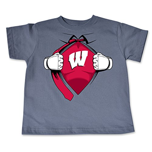 NCAA Wisconsin Badgers Toddler Short Sleeve Super Hero Tee, 3 Toddler, Pewter