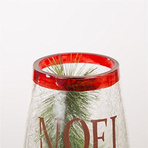 """Noel Glitzhome 11.81/""""H LED Cardinal Glass Bottle Light"""