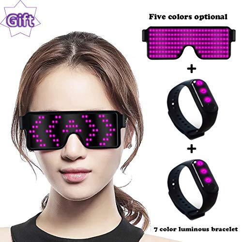 RICISUNG Trustworthy LED Sunglasses,Flashing Cool Party Glasses can work in 8 Animation Modes for 10 Hours,For Nightclubs, DJ, Halloween, Christmas, Birthday Parties, New Year's party Supplies