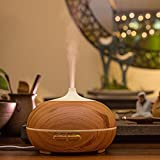 Olibay 500ml Wood Grain Ultrasonic Aroma Essential Oil Diffuser Cool Mist Humidifier for Office and Bedroom