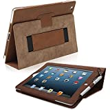 iPad 3 & 4 Case, Snugg™ - Smart Cover with Flip Stand & Lifetime Guarantee (Distressed Brown Leather) for Apple iPad 3 and 4