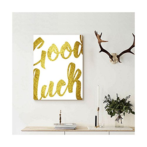 Liguo88 Custom canvas Going Away Party Decorations Good Luck Wish Note Hand Written Lettering Greeting Card Concept Wall Hanging for Gold by Liguo88 (Image #2)