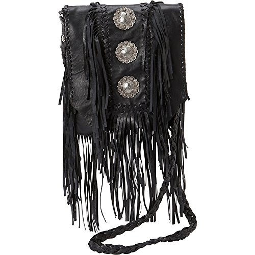 Scully Full Flap with Three Conchos and Fringe Shoulder Bag (Black) by Scully