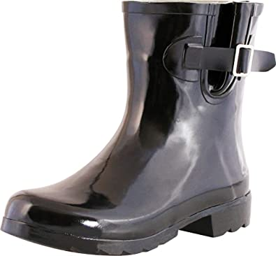 a07671f616f TWO Nomad Women's Dew Waterproof Rubber Ankle Rain Boot,6 M US,Shiny Black