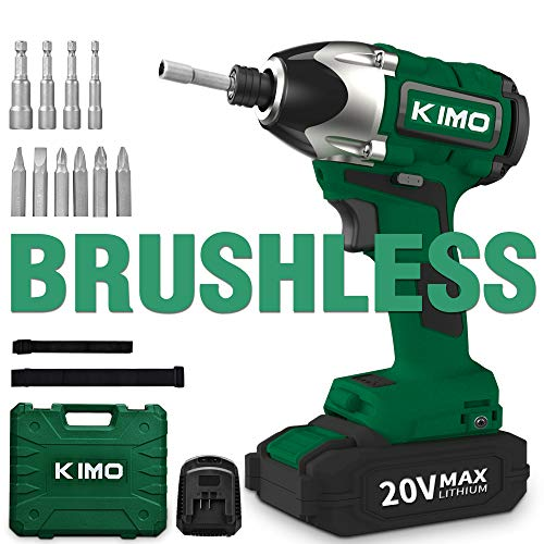 Brushless Cordless Impact Driver – 20V Max Li-Ion KIMO Impact Driver Combo Kit w/ 221ft-lb Torque, 0-2800RPM Variable Speed, 4 lbs Lightweight for Driving Screws or Tightening Nuts Efficiently