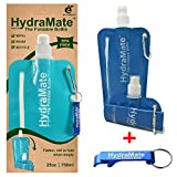 COLLAPSIBLE BOTTLE. BPA Free. Foldable Water Bottle 25oz/750ml. HydraMate Lightweight, Soft, Squeezable, Eco-Friendly Folding Bottle. Sports Cap, Hygienic Lid. Refillable. Carabiner Clip. FREE keyring