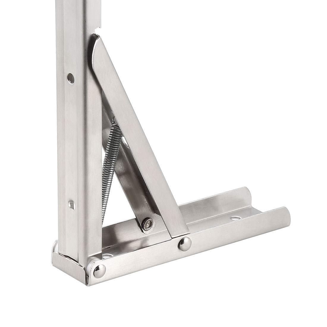 uxcell/® Folding Bracket 7.6 inch 195mm for Shelf Table Desk Wall Mounted Support Collapsible Long Release Arm Space Saving Stainless Steel