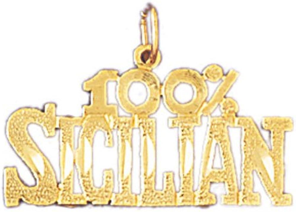 14k Yellow Gold 100/% Sicilian Pendant 24mm x 19.5mm