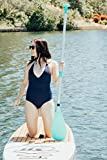 Inflatable Sport Boats Stand Up Paddle Board Adjustable Paddle - 3 Piece Aluminum Floating ISUP Paddle - Adjustable Lengths - Teal