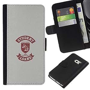 KLONGSHOP // Tirón de la caja Cartera de cuero con ranuras para tarjetas - Vida Estudiantil Cita divertida Escalas Préstamo de Dinero - Samsung Galaxy S6 EDGE //