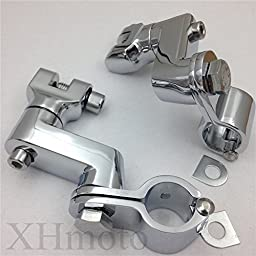 Replacement Chrome Longhorn Footpeg engine guard Mounts Magnum Clamp For Harley Davidson