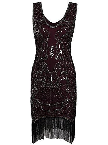 Vijiv Vintage 1920s Dress Flapper Costume Black Sequin Fringe Party Gatsby (1930 Fancy Dress Costumes)