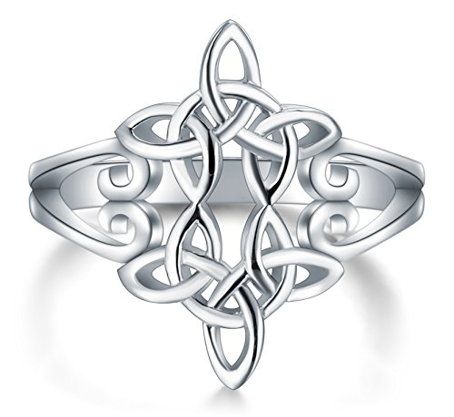 BORUO 925 Sterling Silver Ring Celtic Knot Heart Cross High Polish Tarnish Resistant Eternity Wedding Band Stackable Ring Size 9 (Solid Celtic Cross)