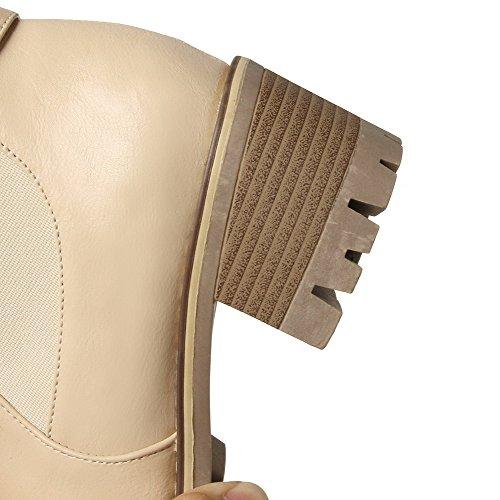 À Correct Rond Talon Unie Agoolar Femme Bottes Duvet Tire Couleur Doublure De Abricot Iax6xCY