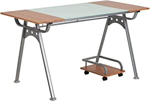 Flash Furniture Computer Desk with Glass and Cherry Laminate Top