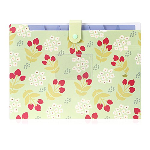 BTSKY Expanding File Folder- Floral A4 and Letter Size Archival File Holder Organizer, 8 Pockets (Green)