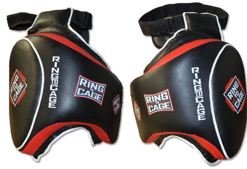 Ring to Cage Deluxe Muay Thai Thigh Guard for Muay Thai, MMA, Kickboxing (Black/Red)