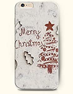 OOFIT Authentic Cases for iPhone 6 (4.7inch) - Hard Back Plastic Case /Merry Christmas Xmas / Off White Merry Christmas and Christmas Tree