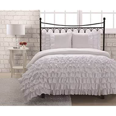 Full Miley Mini Ruffle Comforter Set White