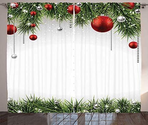 ABAKUHAUS Natale Tenda, Albero Balls Ornamenti, Salotto Camera da Letto Tende per Finestra Due Pannelli Set, 280 x 175 cm, Verde Rosso