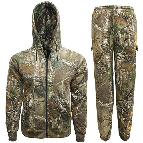 Mens Jungle Print Tracksuit Full Set Trouser Hoodie Camouflage Tree Combat (Large)