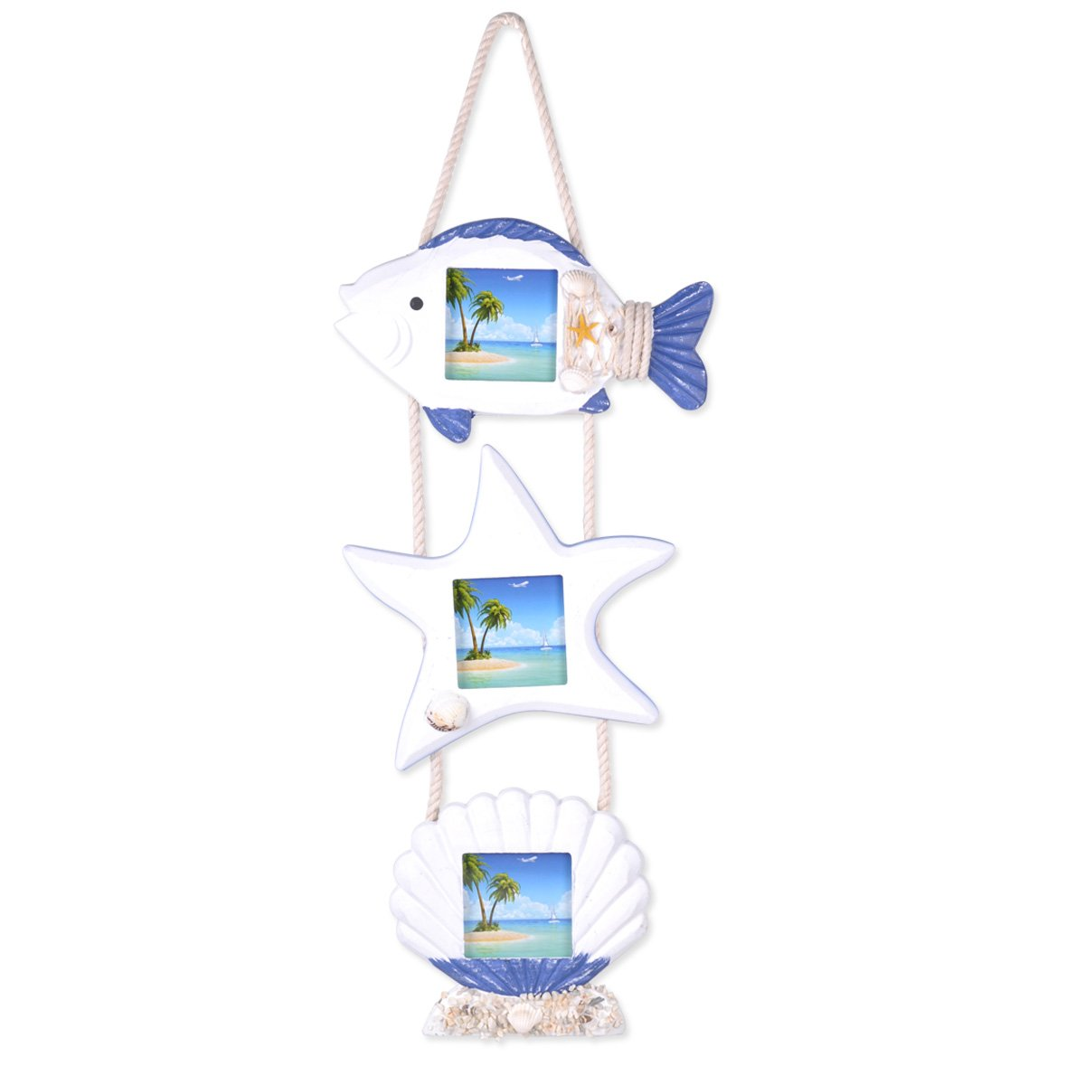 eZAKKA Blue and White Mediterranean Style Picture Frames Home Decoration Handcrafted Wooden Combination for 3 Nonstandard Square Pictures