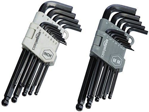 AmazonBasics Hex Key / Allen Wrench Set with Ball End - 26-Piece Insertion Tool Set